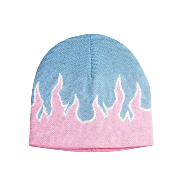 f091308a5ce Pastel Pink Baby Blue Flame Beanie Knit Winter Hat. NWT